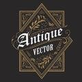 Antique border western frame vintage label hand drawn typography