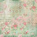 Antique Botanical Collage - Shabby Chic - Pink Roses - French Ephemera - Sheet Music - Wood Textures