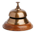 Antique brass bell with a button Stock Photography
