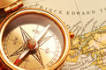 Antique brass compass Royalty Free Stock Images