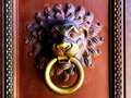 Antique brass door knocker with lion head and ring in its mouth Royalty Free Stock Photo