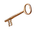 Antique brass key isolated on white with a clipping mask Royalty Free Stock Images