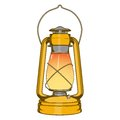 Antique Brass Old Kerosene Lamp isolated on a white background. Colored line art. Retro design. Royalty Free Stock Photo