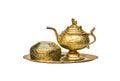 Antique brass tea set Royalty Free Stock Photo