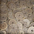Antique bronze Chinese coins Royalty Free Stock Photo