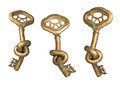 Antique bronze key with knot isolated on white background Royalty Free Stock Photography