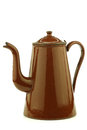 Antique brown enameled coffee pot Stock Photo