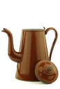 Antique brown enameled coffee pot Stock Image