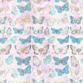 Antique butterflies grungy shabby chic pattern botanical background Royalty Free Stock Photo