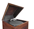 Antique cabinet phonograph isolated. Stock Photos