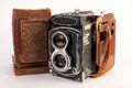 Antique camera with case twin lens medium format extremely worn but classic leather Stock Photo