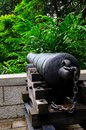 Antique cannon faces the forest an nine pound sits at top of fort canning hill singapore one of a pair of cannons that was meant Stock Photos