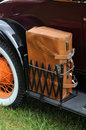 Antique car with a leather suitcase Stock Image