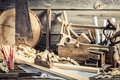 Antique carpentry workshop on old wooden table Stock Images