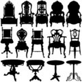 Antique chair and table vector Stock Photography