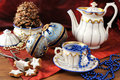 Antique christmas baubles of Biedermeier time with cookies and o