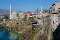 Antique city with stone houses mostar bosnia and herzegovina beautiful on sunny morning the name of mostar was first mentioned in Royalty Free Stock Photography