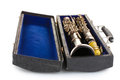 Antique clarinet in case Royalty Free Stock Photos