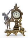 Antique Clock with Cherubs on White Background Stock Photography