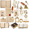 Antique clock key papers books frames old paper sheets with vintage accessories isolated on white background postcard photo album Stock Image