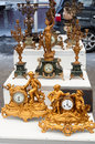 Antique clocks for sale in a flea market Stock Image