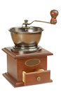 Antique coffee grinder with open box Royalty Free Stock Photo