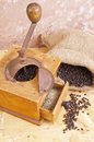 Antique coffee grinders and pepper Stock Photography