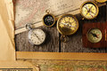 Antique compasses over old map Royalty Free Stock Photo