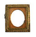 Antique daguerreotype metal frame vintage embellished picture open case on a white background over years old Royalty Free Stock Photography