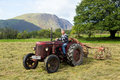 Antique David Brown tractor and threshing machine Royalty Free Stock Photo