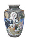 Antique decorated Chinese vase isolated.