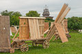 Antique defense replica of the wooden constructions Royalty Free Stock Photo