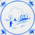 Antique Delft Tile Royalty Free Stock Images