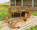 An antique disc plow at an agricultural museum in saskatchewan old fashioned farm equipment outdoor display the canadian prairies Royalty Free Stock Images