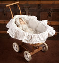 Antique doll in cradle Royalty Free Stock Images