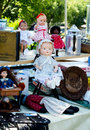 Antique dolls and items at antiques on the bluff old all kinds of interesting are for sale an outdoor flea market in michigan Royalty Free Stock Image