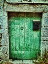 Antique door green vintage Stock Photography