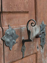Antique door, keyhole and handle - 4 Royalty Free Stock Photo