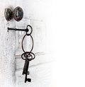 Antique door with keys in the lock Royalty Free Stock Photo