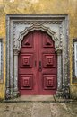 Antique door old in the city of lisbon portugal Royalty Free Stock Photography