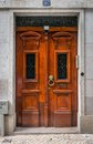Antique door old in the city of lisbon portugal Royalty Free Stock Photo