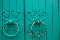 Antique door rings Royalty Free Stock Photo