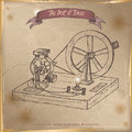 Antique dynamo generator model sketch placed on old paper background. Royalty Free Stock Photo