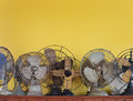 Antique electric fans vintage on white background Royalty Free Stock Images