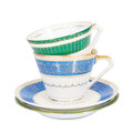 Antique English teacups and saucers Royalty Free Stock Photo