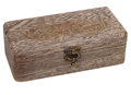 Antique engraved wooden jewelry box isolated a clipping path Royalty Free Stock Photo