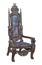 Antique fancy carved wooden chair isolated. Royalty Free Stock Photo