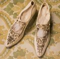 Antique Fancy Decorated Womens Shoes Royalty Free Stock Photo