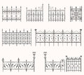 Antique fences second set vector of ornate iron Stock Photos