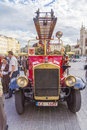 Antique fire truck on market square in krakow poland every year take place in krakow s historic car shows http www google com Stock Photos
